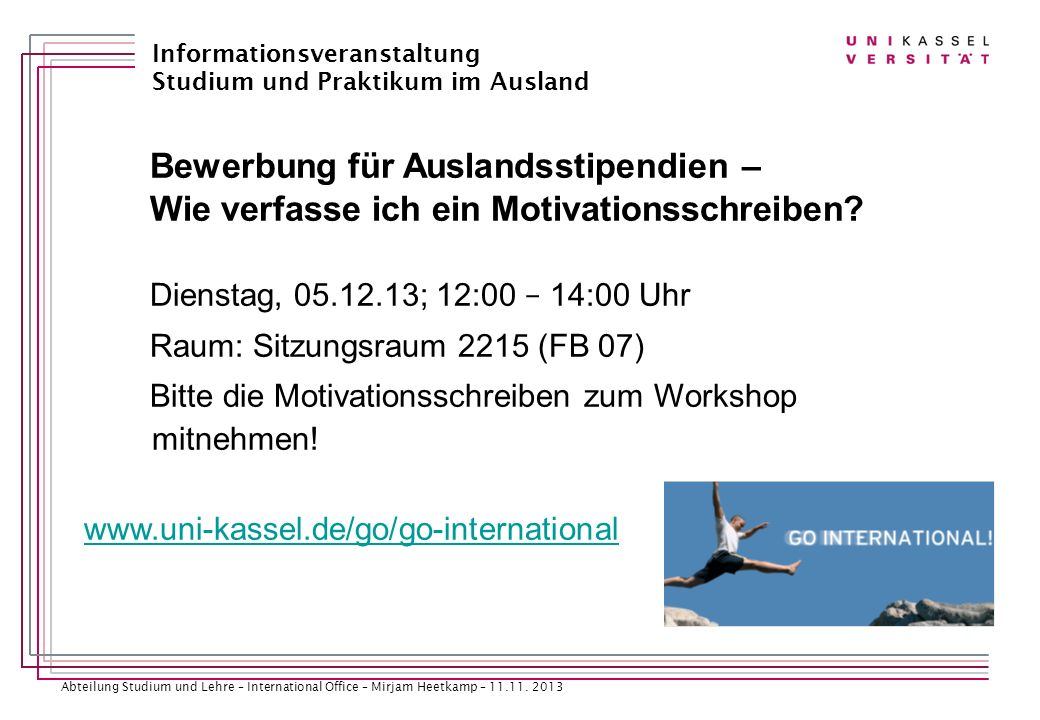 Abteilung Studium und Lehre – International Office – Mirjam Heetkamp – 11.11.