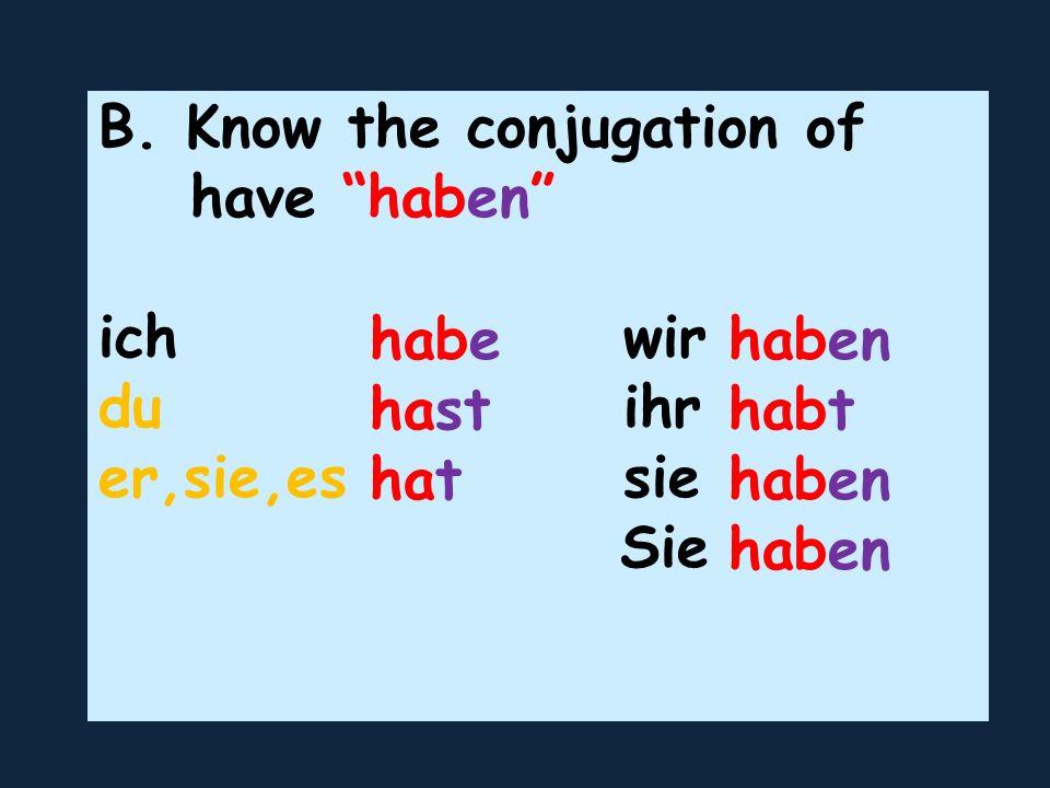 B. Know the conjugation of have haben ich wir du ihr er,sie,es sie Sie habe hast hat haben habt haben