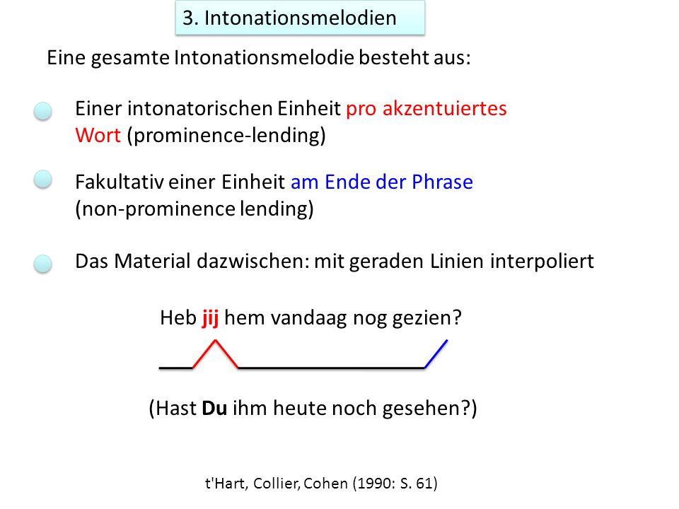 3. Intonationsmelodien Einer intonatorischen Einheit pro akzentuiertes Wort (prominence-lending) Fakultativ einer Einheit am Ende der Phrase (non-prom