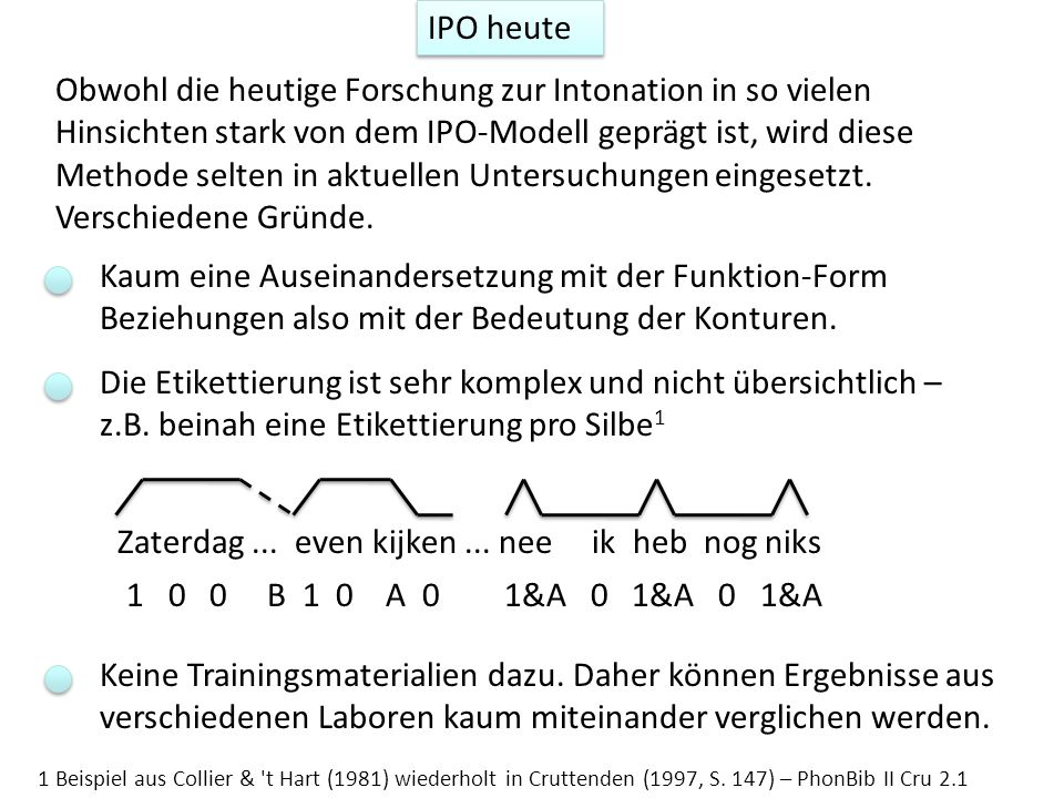 Obwohl die heutige Forschung zur Intonation in so vielen Hinsichten stark von dem IPO-Modell geprägt ist, wird diese Methode selten in aktuellen Unter