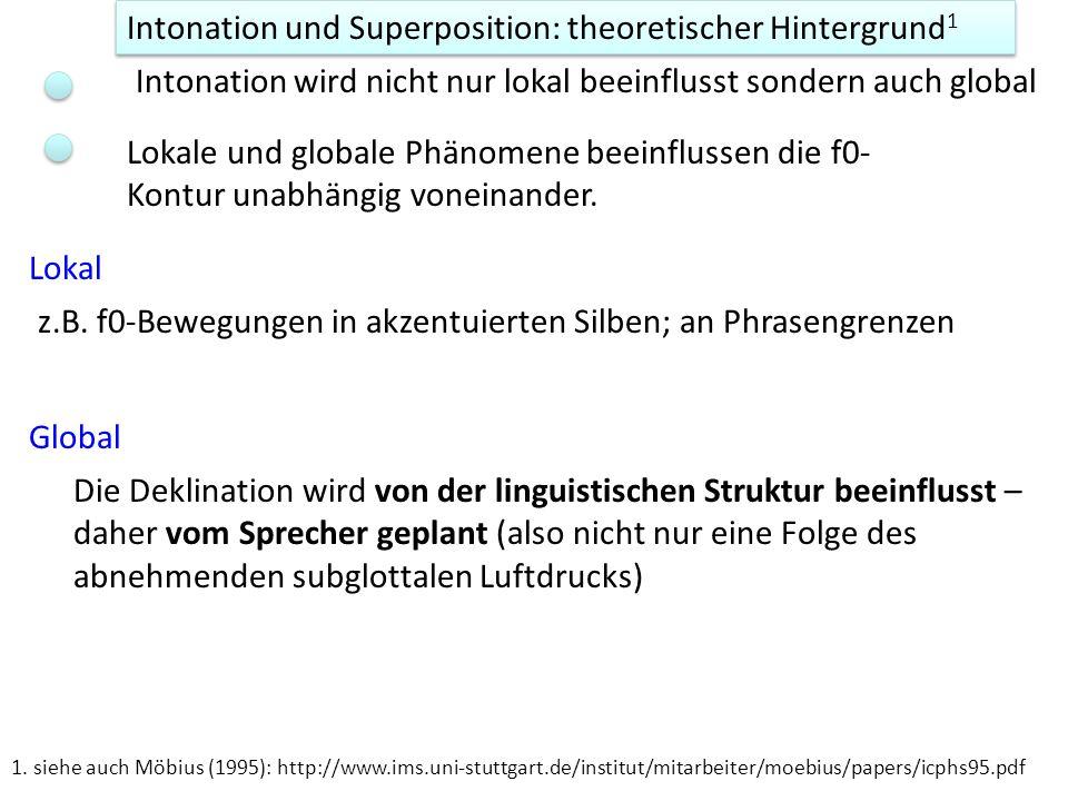 Intonation und Superposition: theoretischer Hintergrund 1 Intonation wird nicht nur lokal beeinflusst sondern auch global Lokal z.B. f0-Bewegungen in