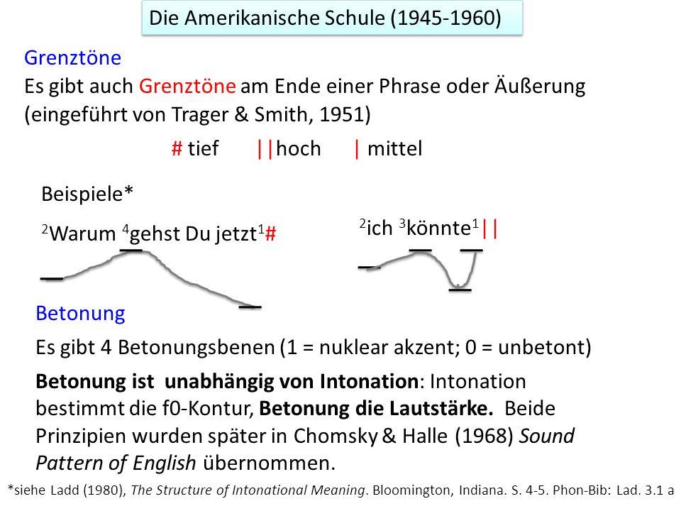Grenztöne (eingeführt von Trager & Smith, 1951) Es gibt auch Grenztöne am Ende einer Phrase oder Äußerung # tief ||hoch | mittel *siehe Ladd (1980), T