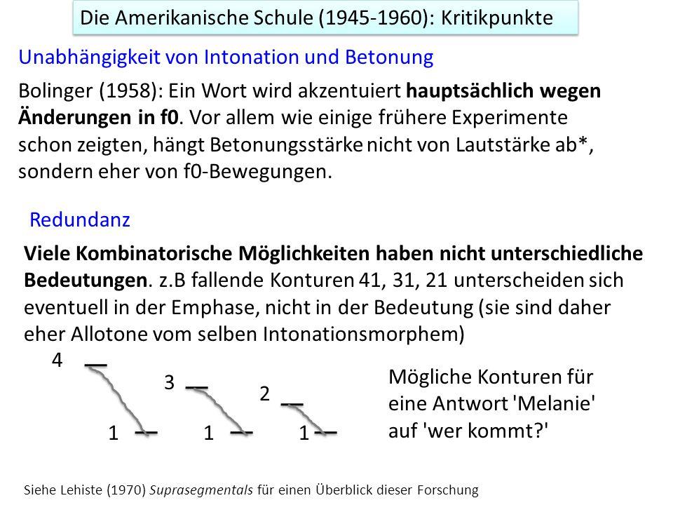Die Amerikanische Schule (1945-1960): Kritikpunkte Unabhängigkeit von Intonation und Betonung Bolinger (1958): Ein Wort wird akzentuiert hauptsächlich