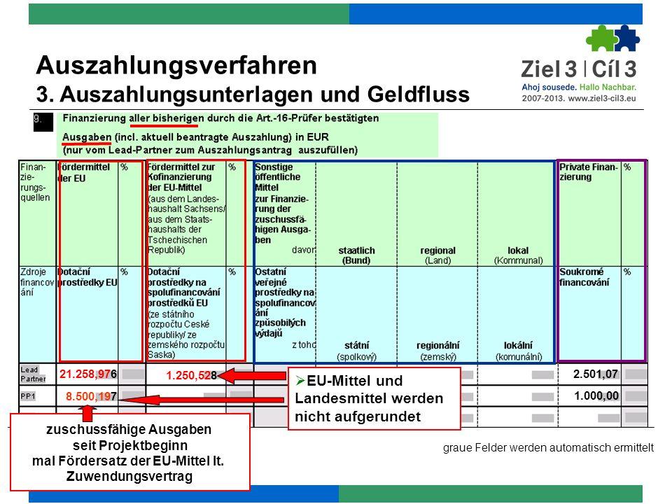 21.258,976 8.500,197 1.250,528 graue Felder werden automatisch ermittelt EU-Mittel und Landesmittel werden nicht aufgerundet Auszahlungsverfahren 3.