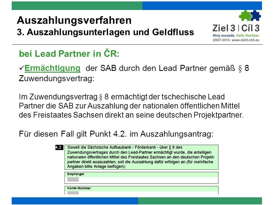 bei Lead Partner in ČR: Auszahlungsverfahren 3.