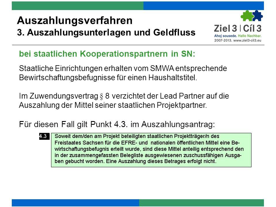 bei staatlichen Kooperationspartnern in SN: Auszahlungsverfahren 3.