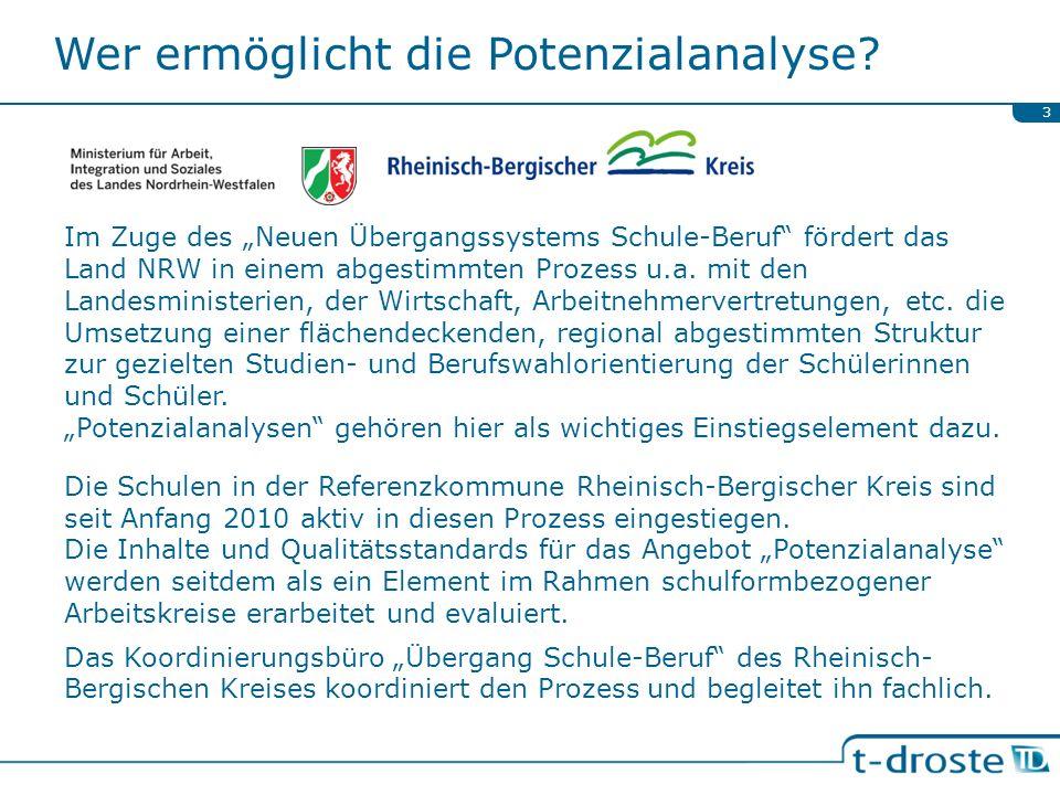 Wer ermöglicht die Potenzialanalyse? Im Zuge des Neuen Übergangssystems Schule-Beruf fördert das Land NRW in einem abgestimmten Prozess u.a. mit den L