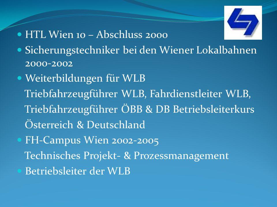 HTL Wien 10 – Abschluss 2000 Sicherungstechniker bei den Wiener Lokalbahnen 2000-2002 Weiterbildungen für WLB Triebfahrzeugführer WLB, Fahrdienstleiter WLB, Triebfahrzeugführer ÖBB & DB Betriebsleiterkurs Österreich & Deutschland FH-Campus Wien 2002-2005 Technisches Projekt- & Prozessmanagement Betriebsleiter der WLB