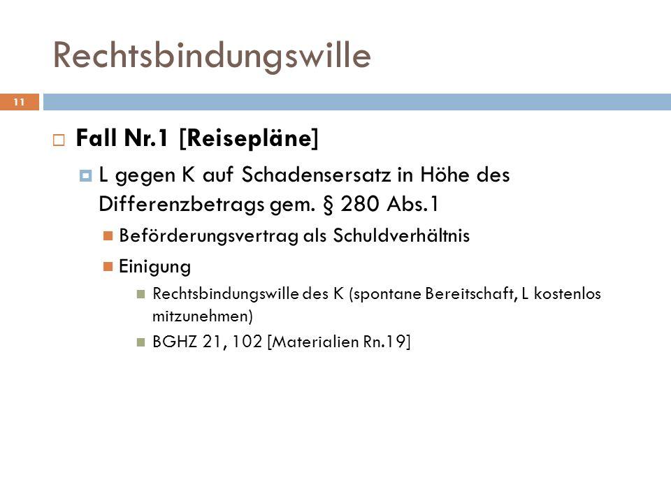 Rechtsbindungswille 11 Fall Nr.1 [Reisepläne] L gegen K auf Schadensersatz in Höhe des Differenzbetrags gem. § 280 Abs.1 Beförderungsvertrag als Schul