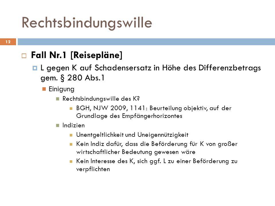 Rechtsbindungswille 12 Fall Nr.1 [Reisepläne] L gegen K auf Schadensersatz in Höhe des Differenzbetrags gem. § 280 Abs.1 Einigung Rechtsbindungswille