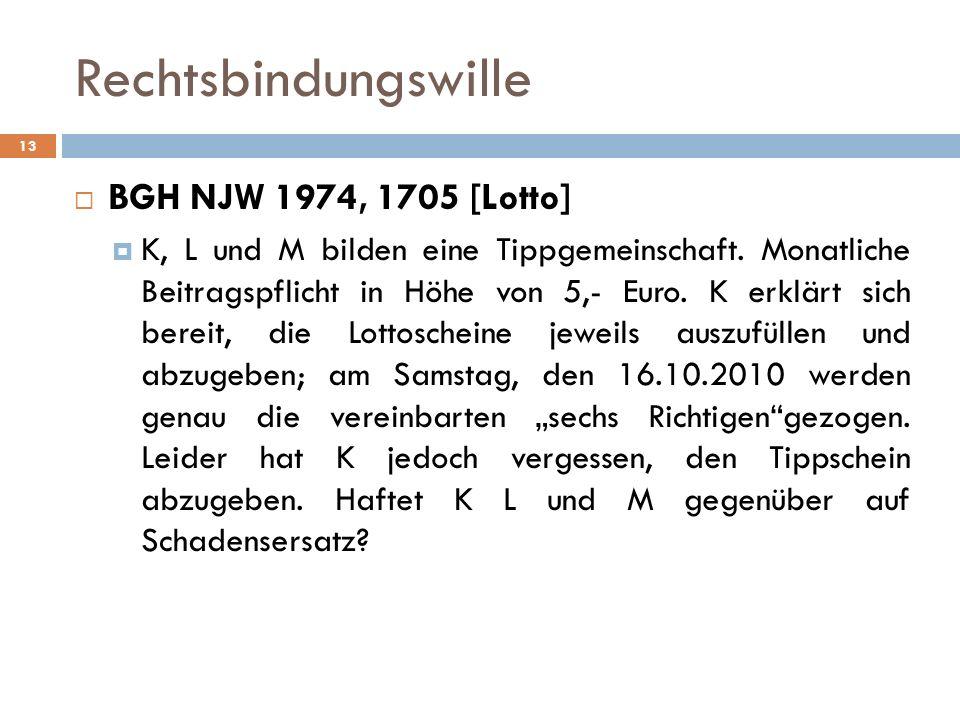Rechtsbindungswille 13 BGH NJW 1974, 1705 [Lotto] K, L und M bilden eine Tippgemeinschaft. Monatliche Beitragspflicht in Höhe von 5,- Euro. K erklärt
