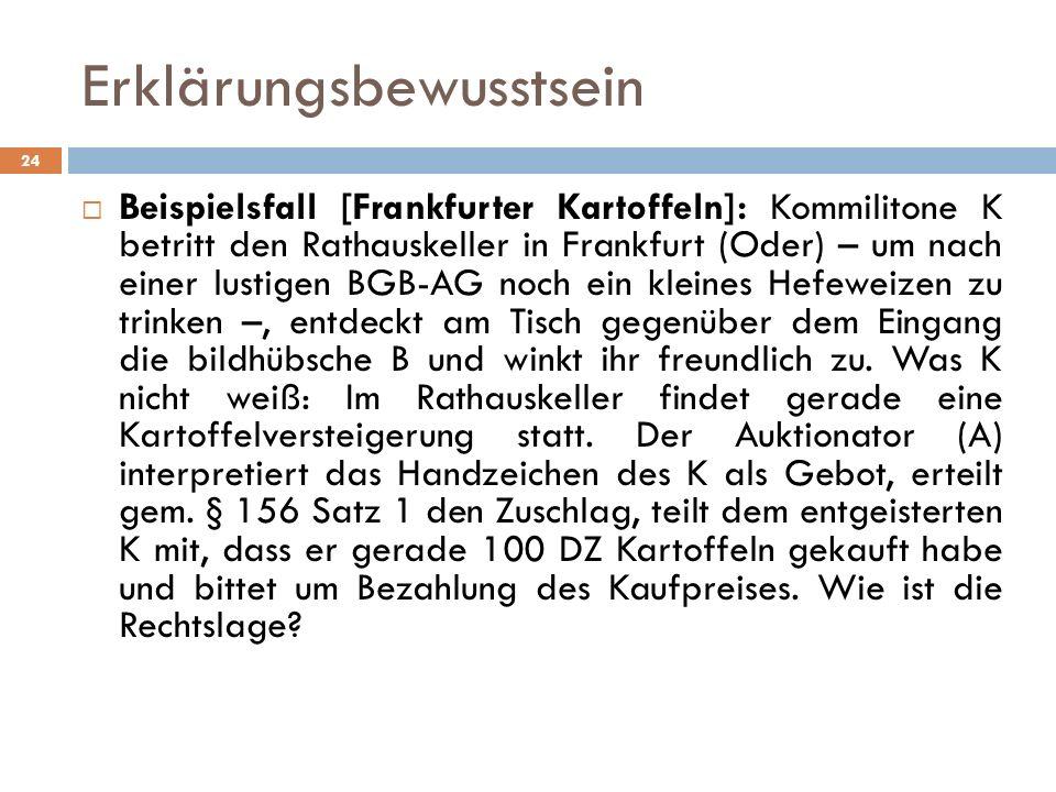Erklärungsbewusstsein 24 Beispielsfall [Frankfurter Kartoffeln]: Kommilitone K betritt den Rathauskeller in Frankfurt (Oder) – um nach einer lustigen