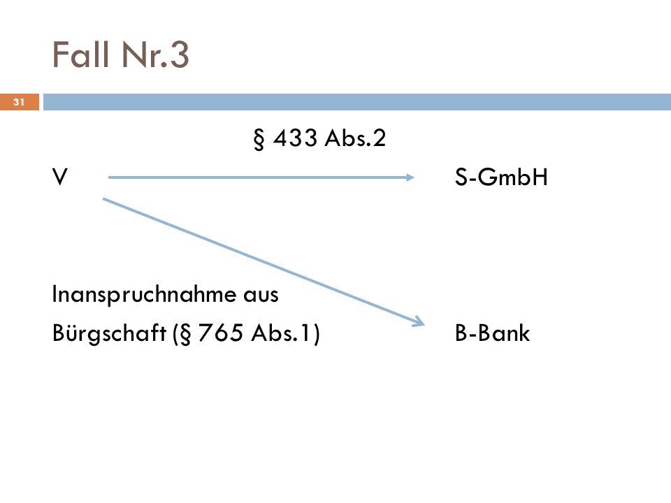 Fall Nr.3 31 § 433 Abs.2 VS-GmbH Inanspruchnahme aus Bürgschaft (§ 765 Abs.1)B-Bank