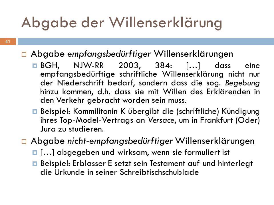Abgabe der Willenserklärung 41 Abgabe empfangsbedürftiger Willenserklärungen BGH, NJW-RR 2003, 384: […] dass eine empfangsbedürftige schriftliche Will