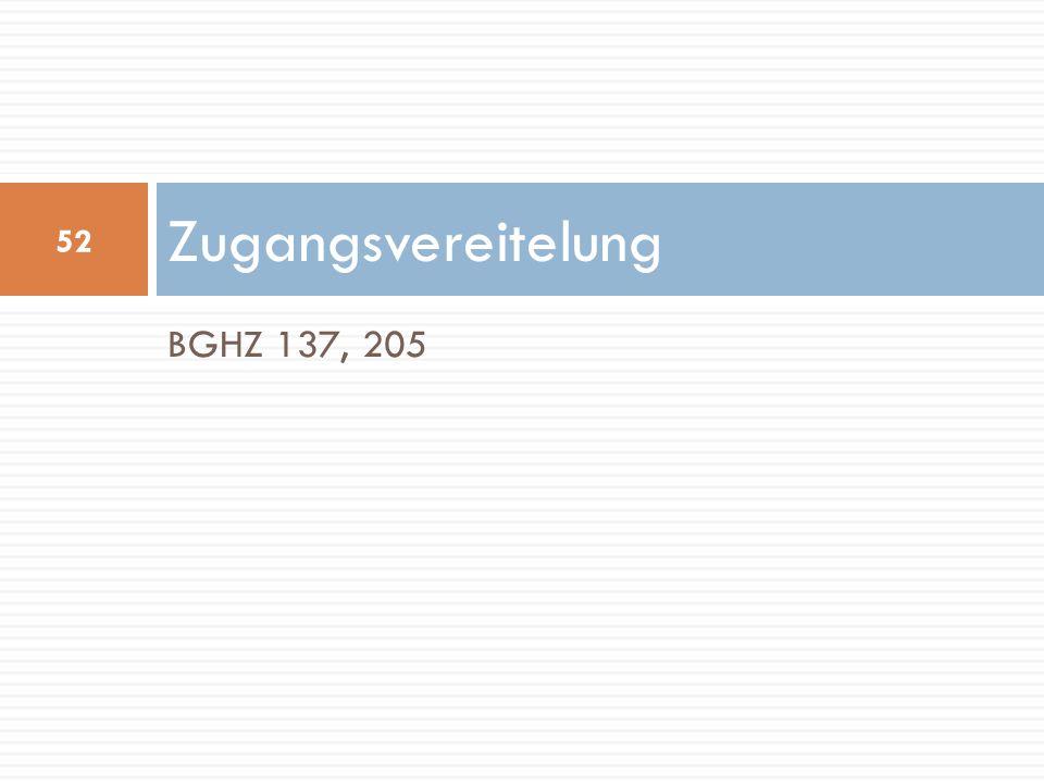 BGHZ 137, 205 Zugangsvereitelung 52