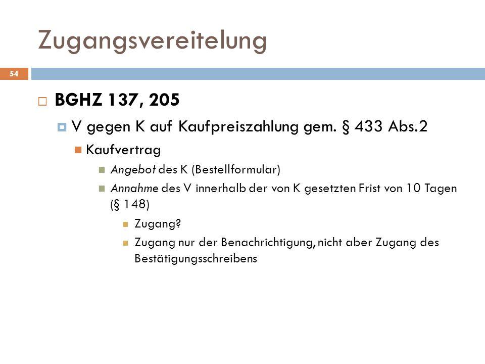 Zugangsvereitelung 54 BGHZ 137, 205 V gegen K auf Kaufpreiszahlung gem. § 433 Abs.2 Kaufvertrag Angebot des K (Bestellformular) Annahme des V innerhal