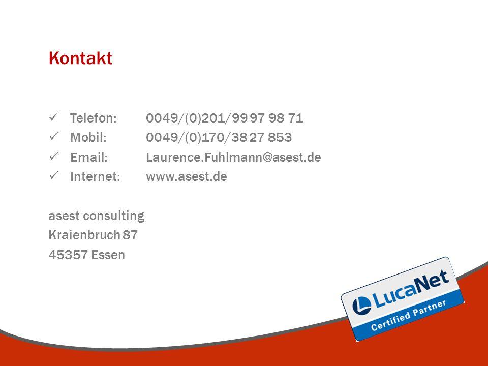 Kontakt Telefon: 0049/(0)201/99 97 98 71 Mobil: 0049/(0)170/38 27 853 Email: Laurence.Fuhlmann@asest.de Internet:www.asest.de asest consulting Kraienbruch 87 45357 Essen