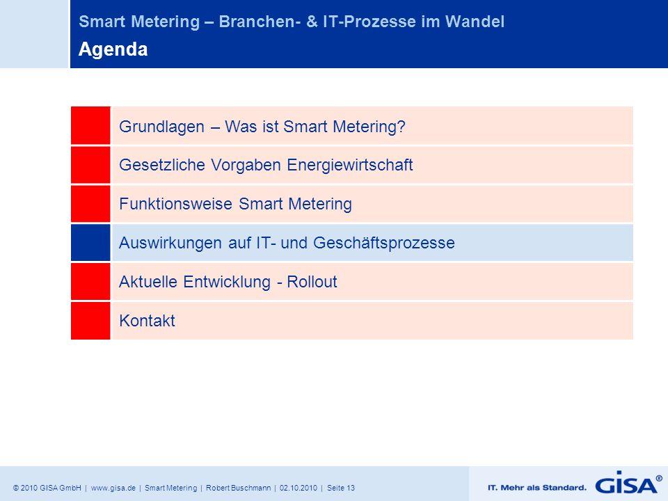 © 2010 GISA GmbH | www.gisa.de | Smart Metering | Robert Buschmann | 02.10.2010 | Seite 13 Smart Metering – Branchen- & IT-Prozesse im Wandel Agenda G