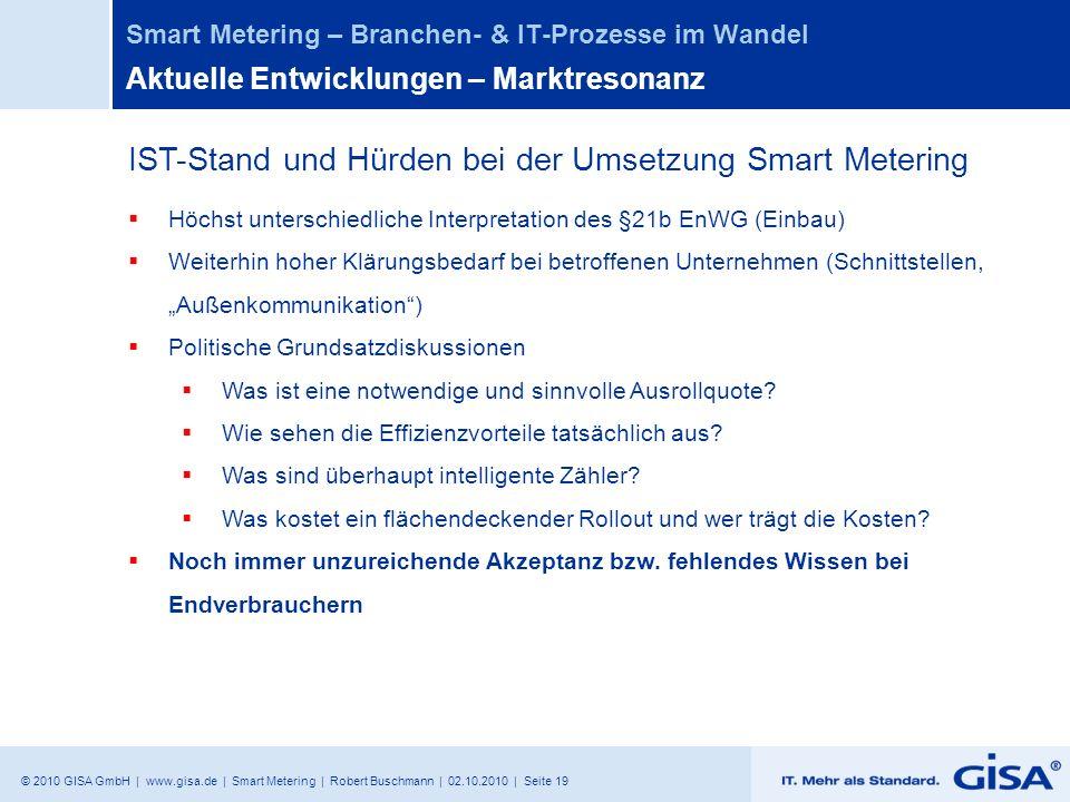 © 2010 GISA GmbH | www.gisa.de | Smart Metering | Robert Buschmann | 02.10.2010 | Seite 19 Smart Metering – Branchen- & IT-Prozesse im Wandel Aktuelle