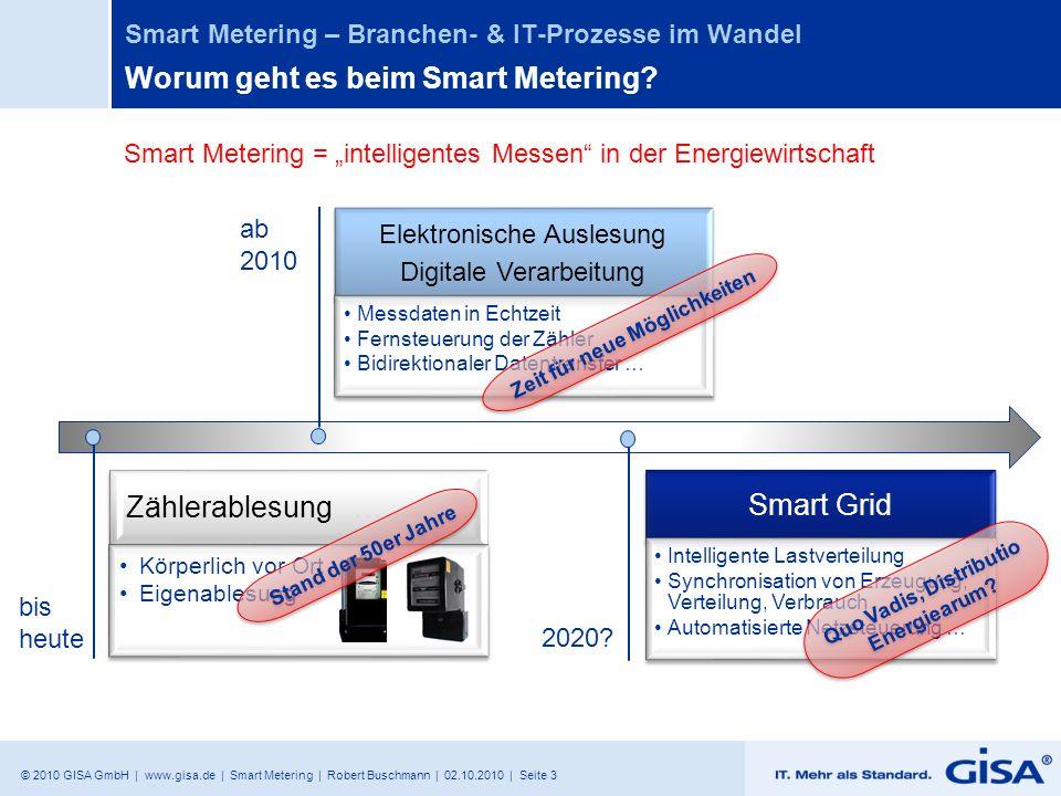 © 2010 GISA GmbH | www.gisa.de | Smart Metering | Robert Buschmann | 02.10.2010 | Seite 4 Smart Metering – Branchen- & IT-Prozesse im Wandel Worum geht es beim Smart Metering 19472010 Bereitstellung von Informationen, mit denen Kunden ihren Energieverbrauch effizient beeinflussen können.