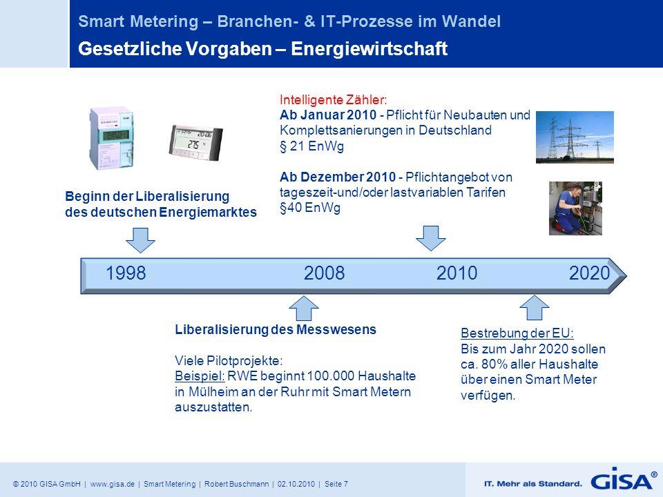 © 2010 GISA GmbH | www.gisa.de | Smart Metering | Robert Buschmann | 02.10.2010 | Seite 7 Smart Metering – Branchen- & IT-Prozesse im Wandel Gesetzlic