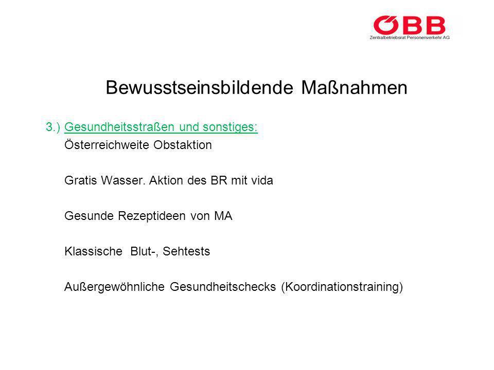 Bewusstseinsbildende Maßnahmen 3.)Gesundheitsstraßen und sonstiges: Österreichweite Obstaktion Gratis Wasser. Aktion des BR mit vida Gesunde Rezeptide