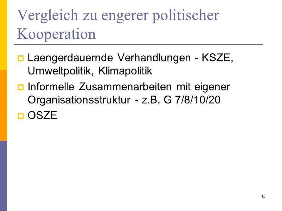 Vergleich zu engerer politischer Kooperation Laengerdauernde Verhandlungen - KSZE, Umweltpolitik, Klimapolitik Informelle Zusammenarbeiten mit eigener
