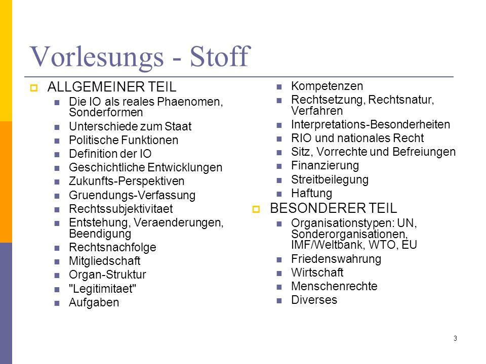 Literaturliste Ruffert, M./ Walter, C., Institutionalisiertes Völkerrecht.