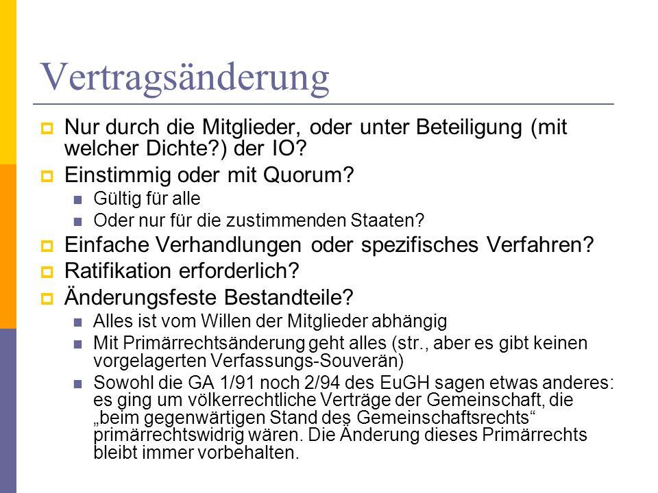 Vertragsänderung Nur durch die Mitglieder, oder unter Beteiligung (mit welcher Dichte?) der IO? Einstimmig oder mit Quorum? Gültig für alle Oder nur f
