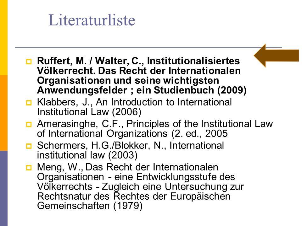 Literaturliste Ruffert, M. / Walter, C., Institutionalisiertes Völkerrecht. Das Recht der Internationalen Organisationen und seine wichtigsten Anwendu