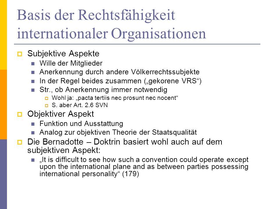 Basis der Rechtsfähigkeit internationaler Organisationen Subjektive Aspekte Wille der Mitglieder Anerkennung durch andere Völkerrechtssubjekte In der