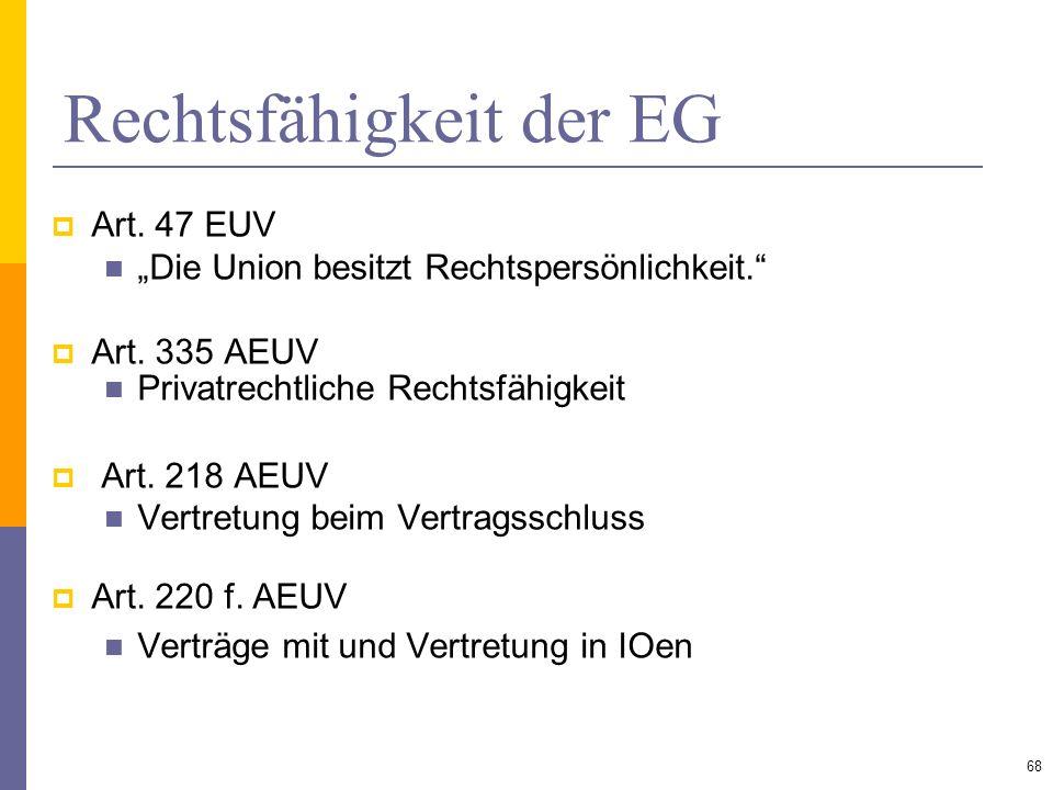 Rechtsfähigkeit der EG Art. 47 EUV Die Union besitzt Rechtspersönlichkeit. Art. 335 AEUV Privatrechtliche Rechtsfähigkeit Art. 218 AEUV Vertretung bei
