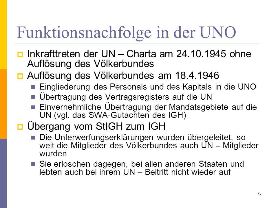 Funktionsnachfolge in der UNO Inkrafttreten der UN – Charta am 24.10.1945 ohne Auflösung des Völkerbundes Auflösung des Völkerbundes am 18.4.1946 Eing