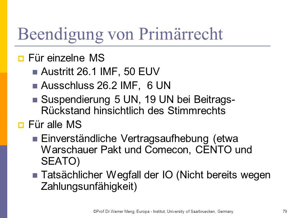 Beendigung von Primärrecht Für einzelne MS Austritt 26.1 IMF, 50 EUV Ausschluss 26.2 IMF, 6 UN Suspendierung 5 UN, 19 UN bei Beitrags- Rückstand hinsi