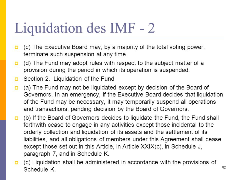 Liquidation des IMF - 2 (c) The Executive Board may, by a majority of the total voting power, terminate such suspension at any time. (d) The Fund may
