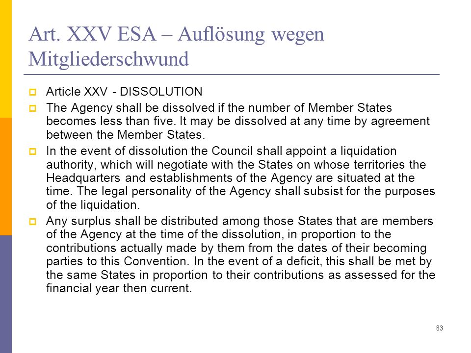 Art. XXV ESA – Auflösung wegen Mitgliederschwund Article XXV - DISSOLUTION The Agency shall be dissolved if the number of Member States becomes less t