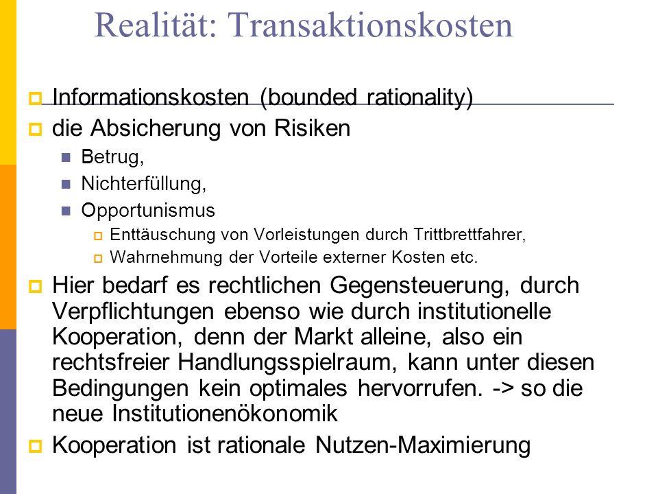Realität: Transaktionskosten Informationskosten (bounded rationality) die Absicherung von Risiken Betrug, Nichterfüllung, Opportunismus Enttäuschung v