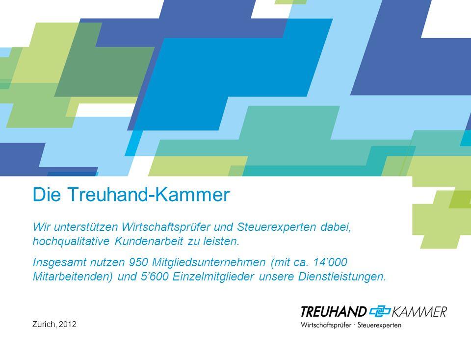 Über uns ©Treuhand-Kammer, 2012 Hohe Relevanz: Weit über 2/3 der Schweizer Wirtschaftsleistung wird von Unternehmen erbracht, welche von unseren Mitgliedern betreut werden.