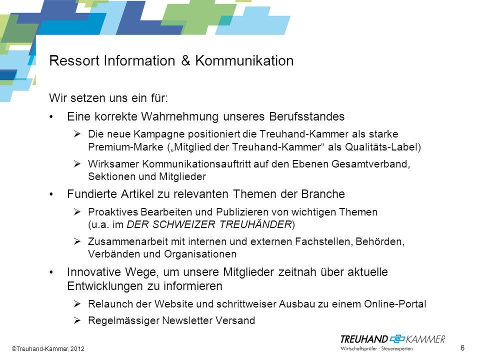 Ressort Information & Kommunikation ©Treuhand-Kammer, 2012 6 Wir setzen uns ein für: Eine korrekte Wahrnehmung unseres Berufsstandes Die neue Kampagne