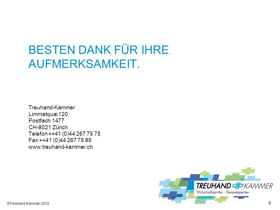 BESTEN DANK FÜR IHRE AUFMERKSAMKEIT. Treuhand-Kammer Limmatquai 120 Postfach 1477 CH-8021 Zürich Telefon ++41 (0)44 267 75 75 Fax ++41 (0)44 267 75 85