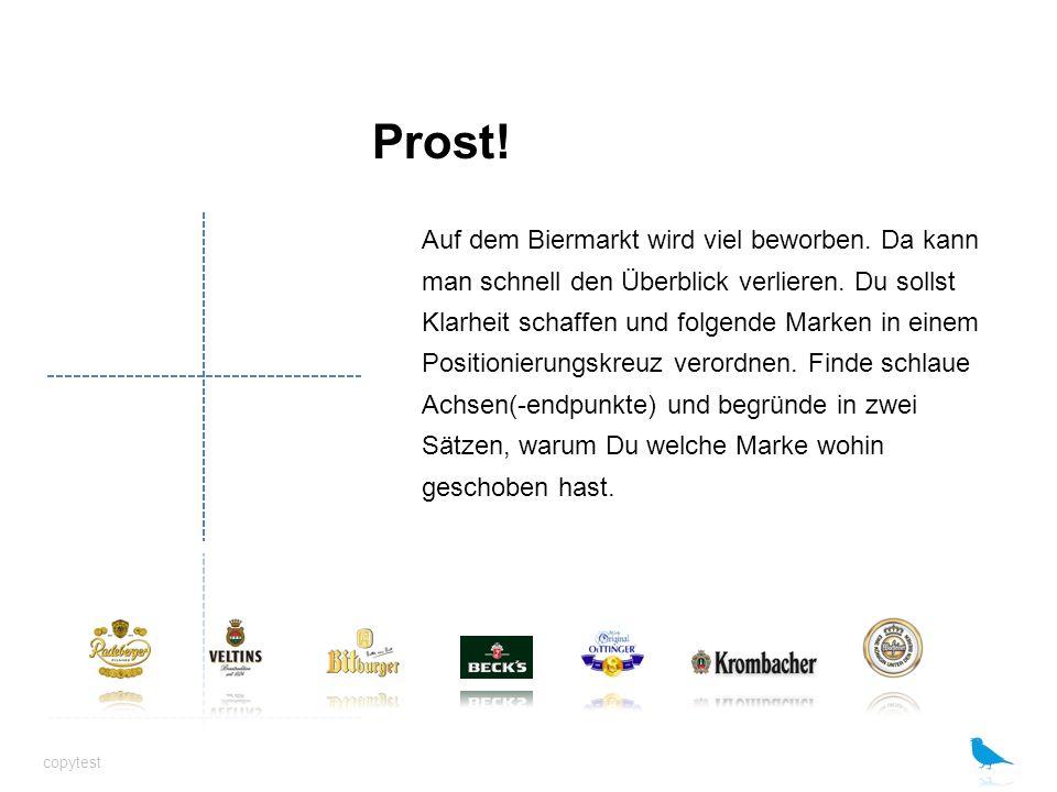 Prost! Auf dem Biermarkt wird viel beworben. Da kann man schnell den Überblick verlieren. Du sollst Klarheit schaffen und folgende Marken in einem Pos
