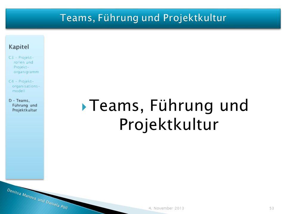 Denitsa Manova und Daniela Pöll 4. November 2013 53 Teams, Führung und Projektkultur