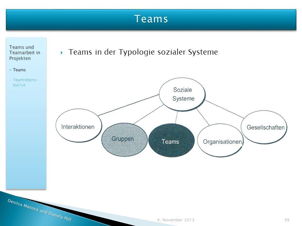 Denitsa Manova und Daniela Pöll 4. November 2013 59 Teams in der Typologie sozialer Systeme