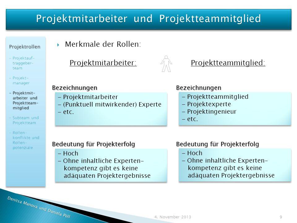 Merkmale der Rollen: Projektmitarbeiter: Projektteammitglied: Denitsa Manova und Daniela Pöll 4.