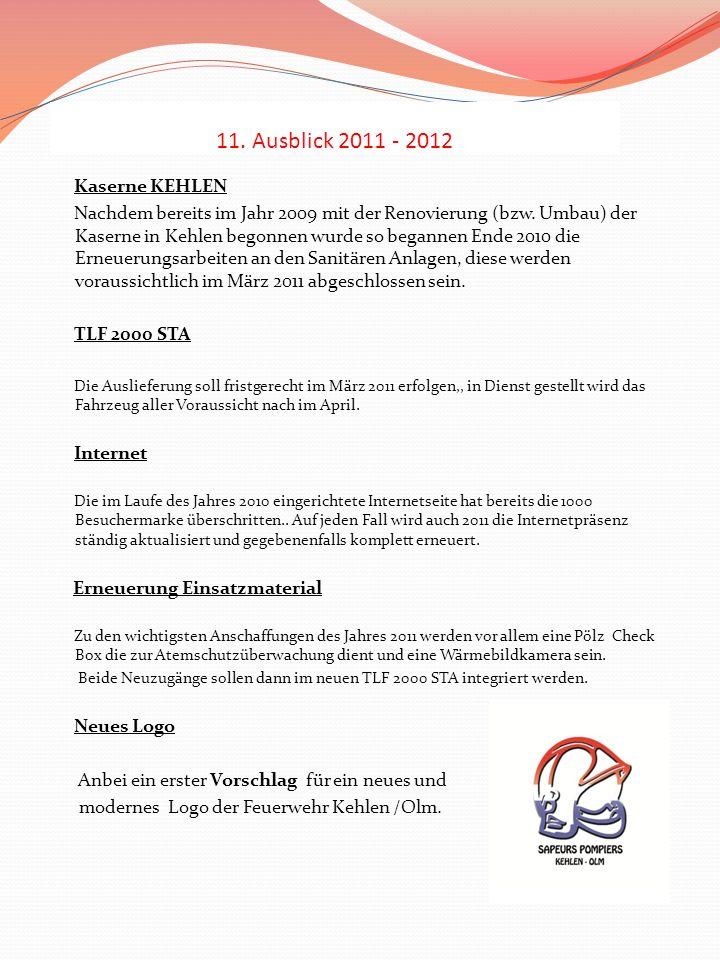 11. Ausblick 2011 - 2012 Kaserne KEHLEN Nachdem bereits im Jahr 2009 mit der Renovierung (bzw. Umbau) der Kaserne in Kehlen begonnen wurde so begannen