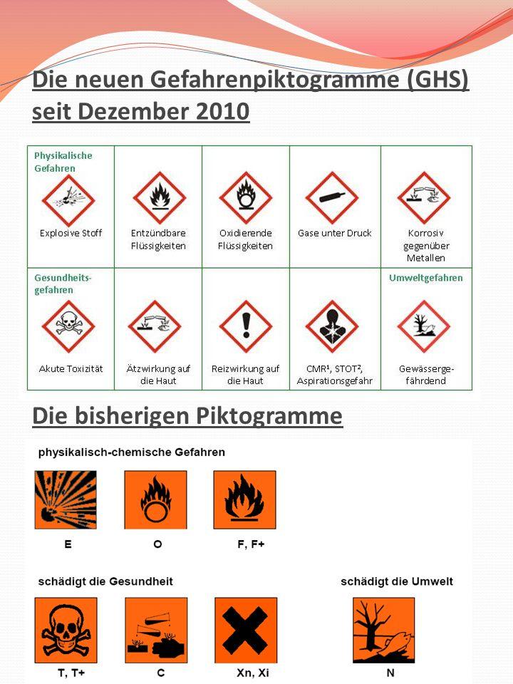 Die neuen Gefahrenpiktogramme (GHS) seit Dezember 2010 Die bisherigen Piktogramme