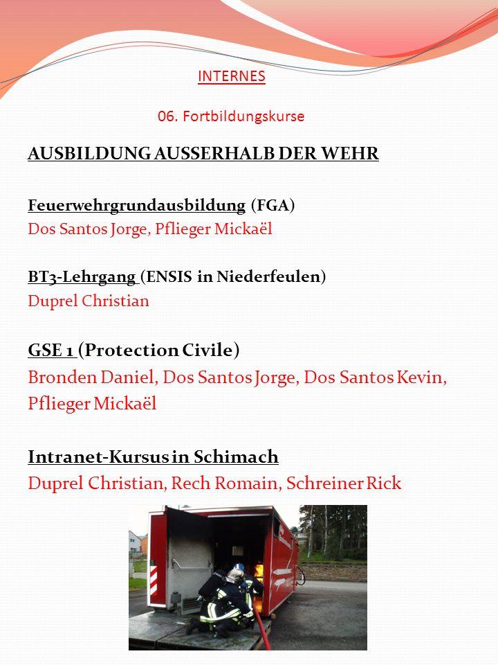 INTERNES 06. Fortbildungskurse AUSBILDUNG AUSSERHALB DER WEHR Feuerwehrgrundausbildung (FGA) Dos Santos Jorge, Pflieger Mickaël BT3-Lehrgang (ENSIS in