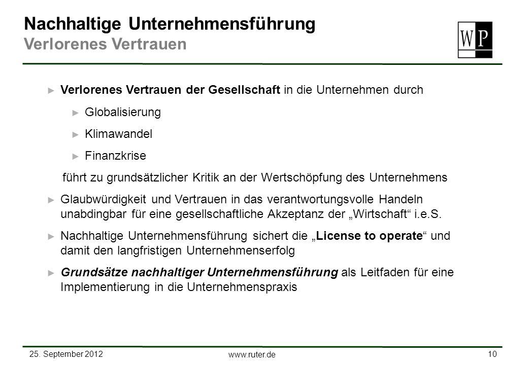 25. September 2012 10 www.ruter.de Nachhaltige Unternehmensführung Verlorenes Vertrauen Verlorenes Vertrauen der Gesellschaft in die Unternehmen durch