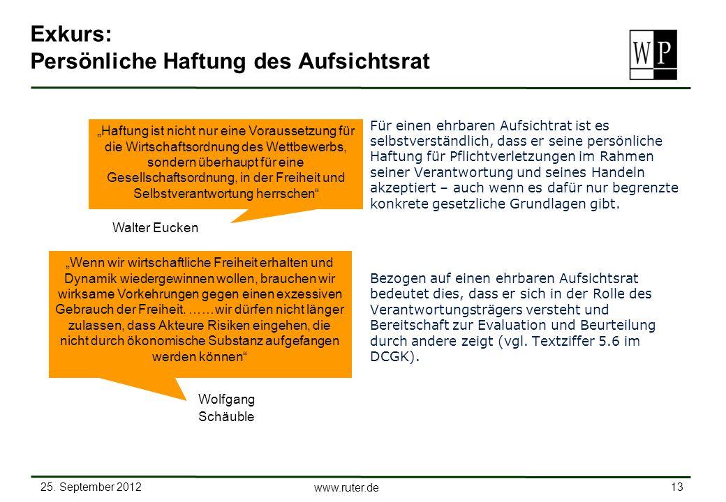 25. September 2012 13 www.ruter.de Exkurs: Persönliche Haftung des Aufsichtsrat Für einen ehrbaren Aufsichtrat ist es selbstverständlich, dass er sein