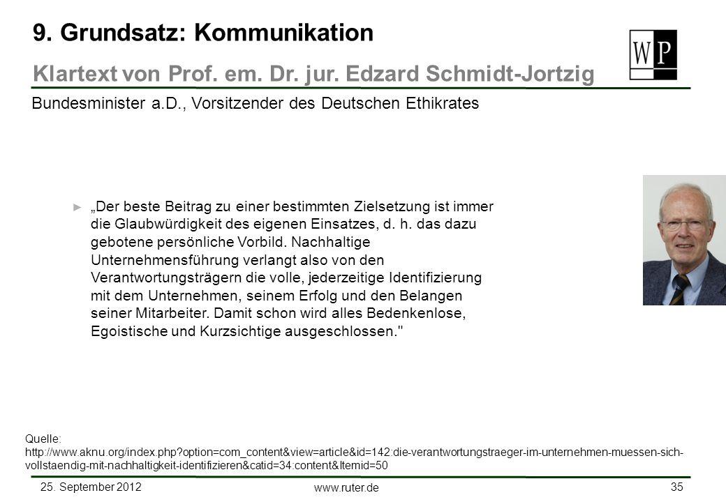 25. September 2012 35 www.ruter.de Der beste Beitrag zu einer bestimmten Zielsetzung ist immer die Glaubwürdigkeit des eigenen Einsatzes, d. h. das da